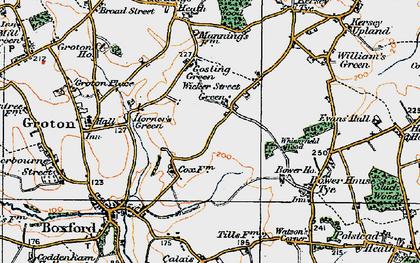Old map of Wicker Street Green in 1921