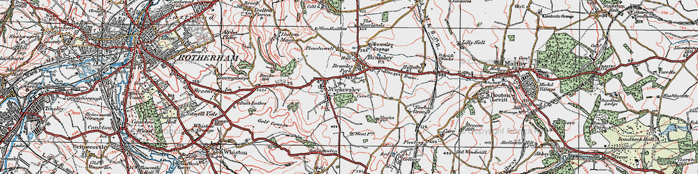 Old map of Wickersley in 1923