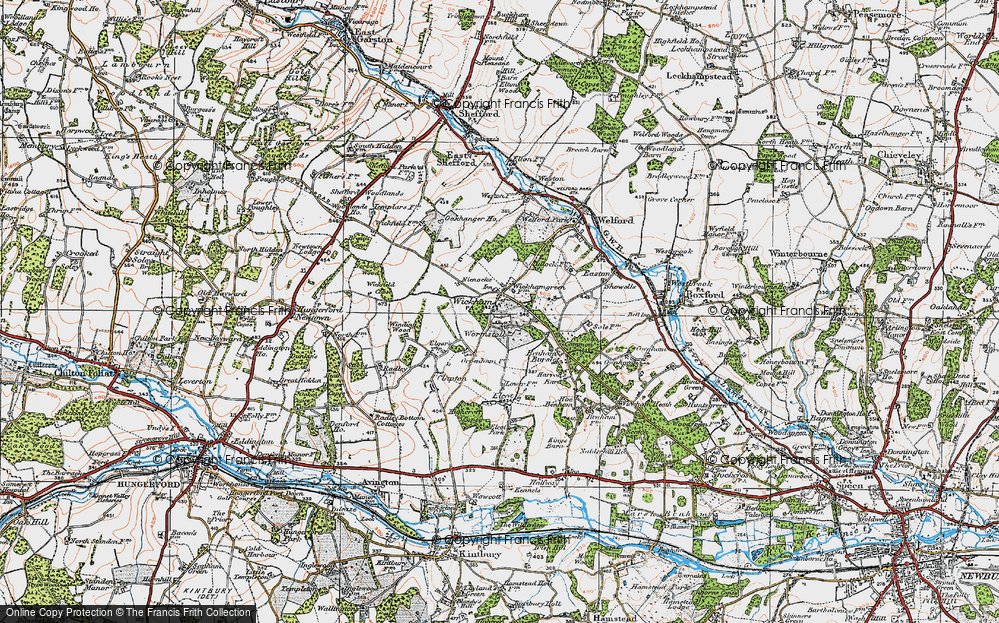 Old Map of Historic Map covering Wormstall in 1919