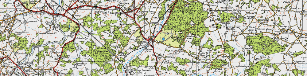 Old map of Wickham in 1919