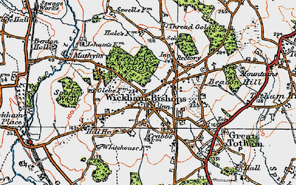 Old map of Wickham Bishops in 1921