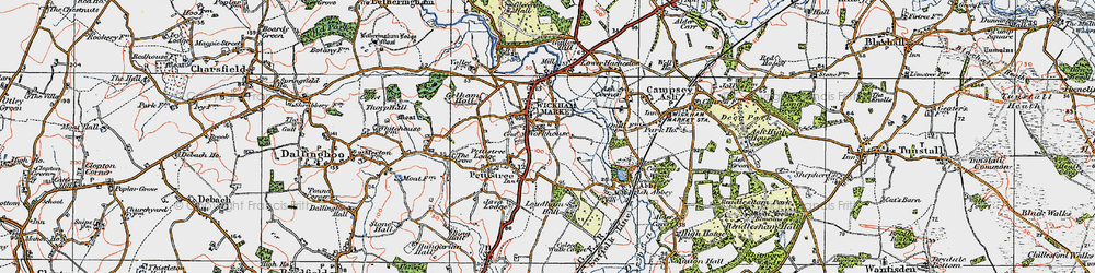 Old map of Wickham Market in 1921