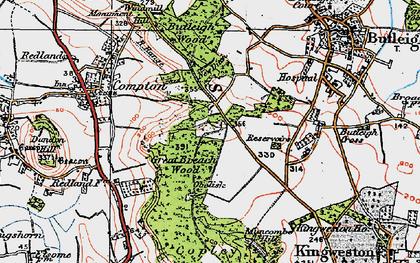 Old map of Wickham's Cross in 1919