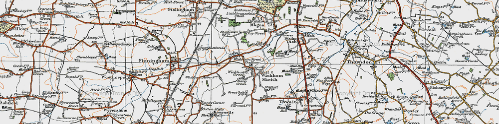 Old map of Wickham Skeith in 1920