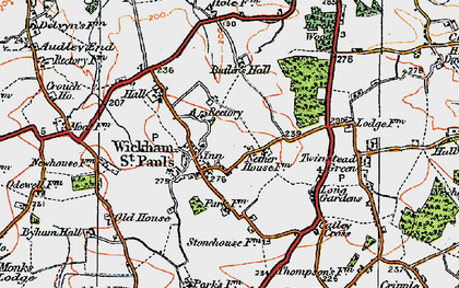 Old map of Wickham St Paul in 1921