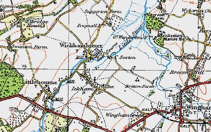 Old map of Wickhambreaux in 1920
