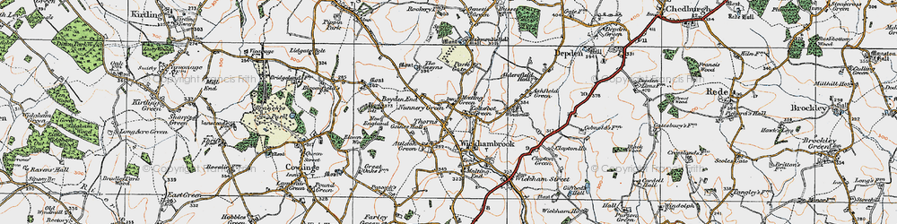 Old map of Wickhambrook in 1921