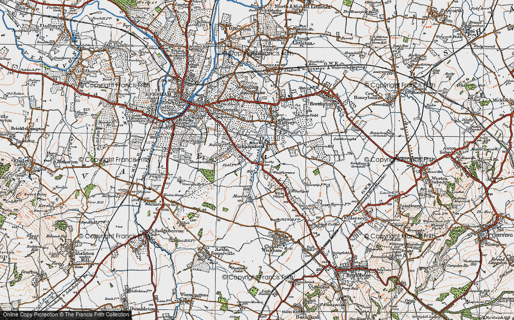 Old Map of Historic Map covering Badsey Brook in 1919