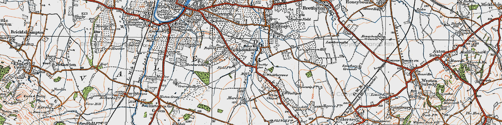 Old map of Wickhamford in 1919