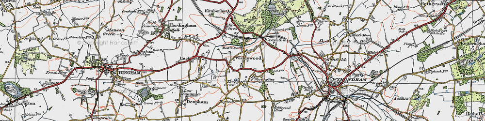 Old map of Wicklewood in 1921