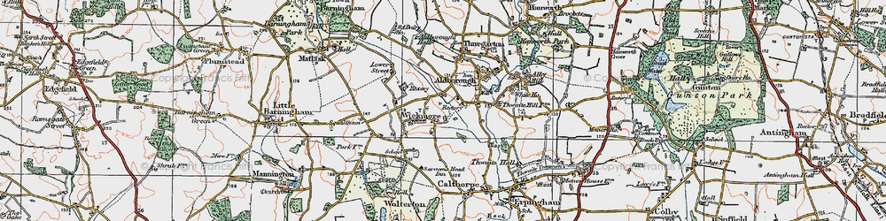 Old map of Wickmere in 1922