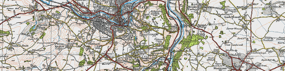 Old map of Widcombe in 1919