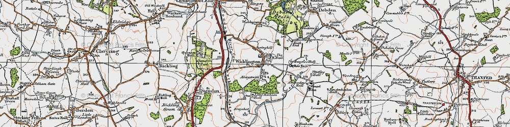Old map of Widdington in 1919