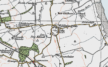 Old map of Widdrington in 1925