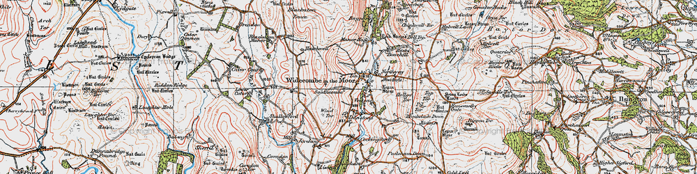 Old map of Widecombe in the Moor in 1919