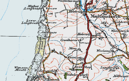 Old map of Widemouth Bay in 1919
