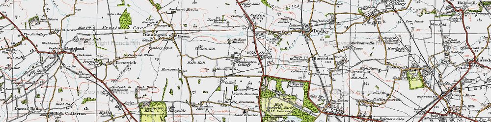 Old map of Wideopen in 1925