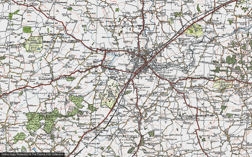 Old Map of Widford, 1920 in 1920