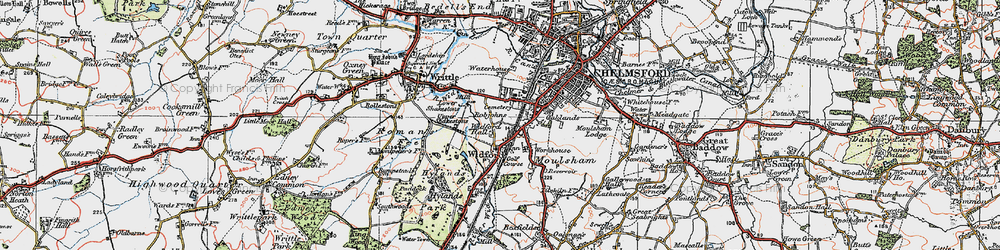 Old map of Widford in 1920