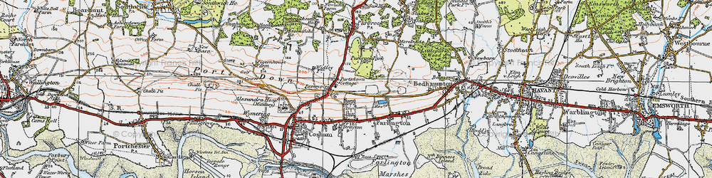 Old map of Widley in 1919