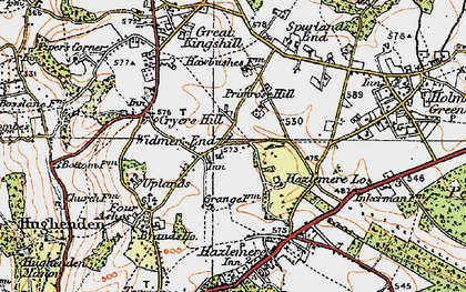 Old map of Widmer End in 1919