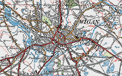Old map of Wigan in 1924