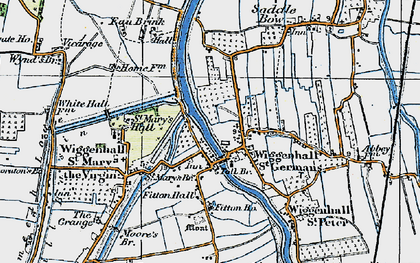 Old map of Wiggenhall St Germans in 1922