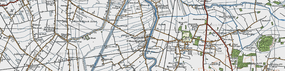 Old map of Wiggenhall St Mary Magdalen in 1922