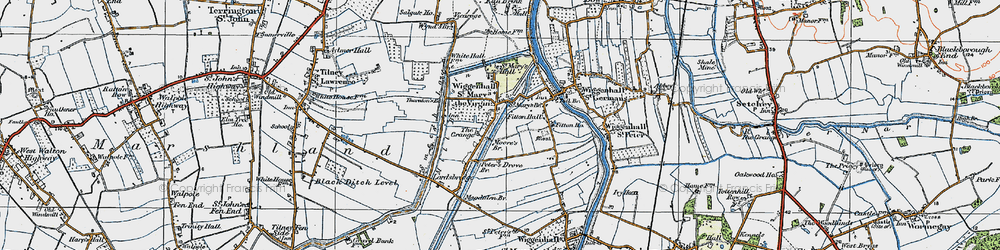 Old map of Wiggenhall St Mary the Virgin in 1922