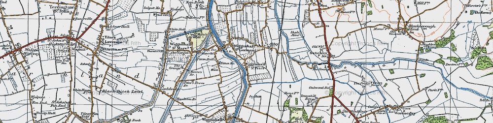 Old map of Wiggenhall St Peter in 1922