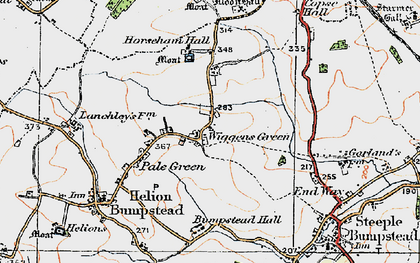 Old map of Wiggens Green in 1920