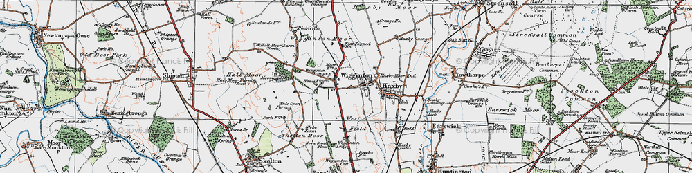 Old map of Wigginton Moor in 1924