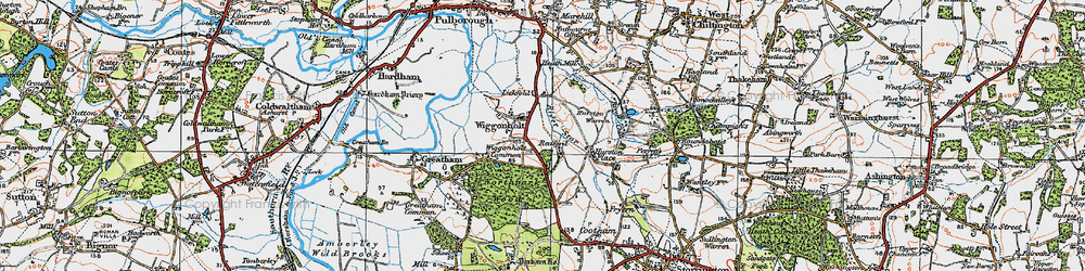 Old map of Wiggonholt Common in 1920