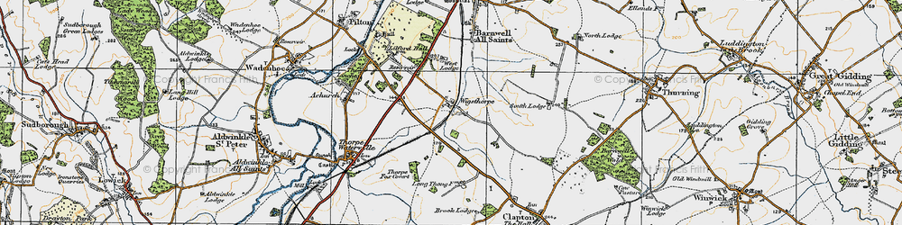 Old map of Wigsthorpe in 1920