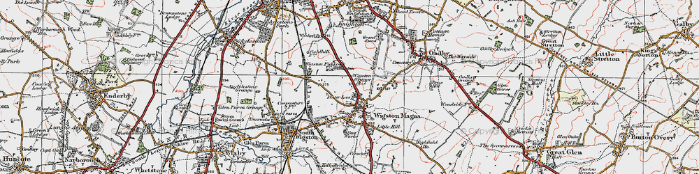 Old map of Wigston in 1921