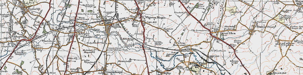 Old map of Wigston Harcourt in 1921