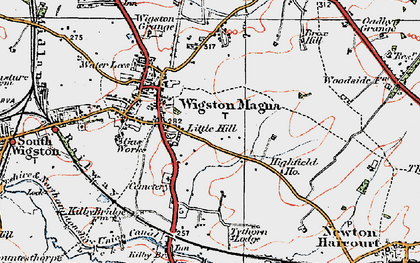 Old map of Wigston Magna in 1921