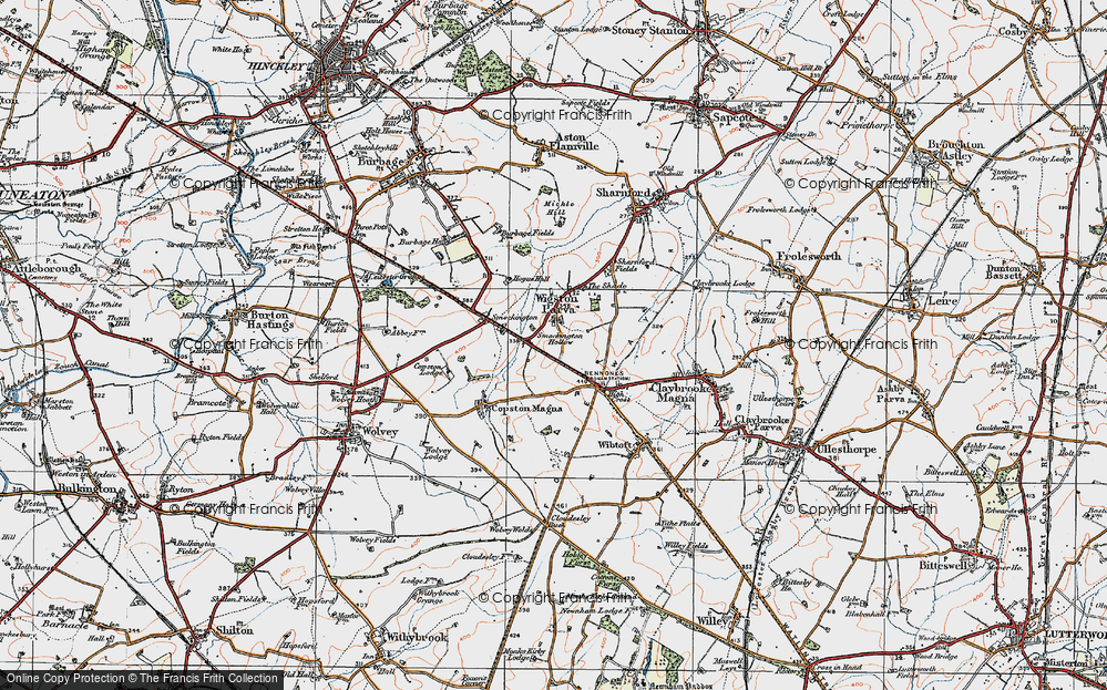 Old Map of Historic Map covering Leicestershire Round, The in 1920