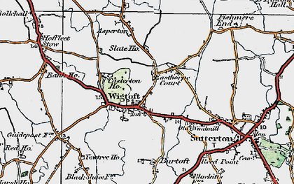 Old map of Wigtoft in 1922