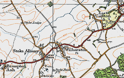 Old map of Wilbarston in 1920