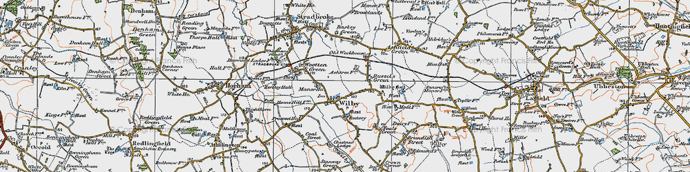 Old map of Wilby in 1921