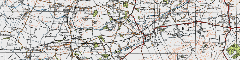 Old map of Wilcot in 1919