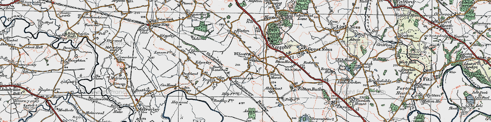 Old map of Wilcott in 1921