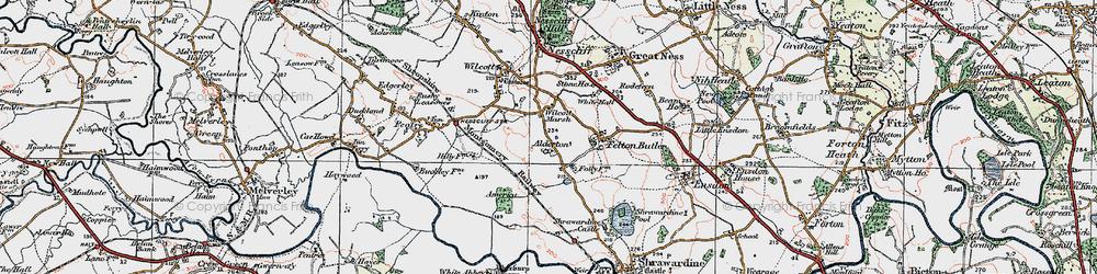 Old map of Wilcott Marsh in 1921