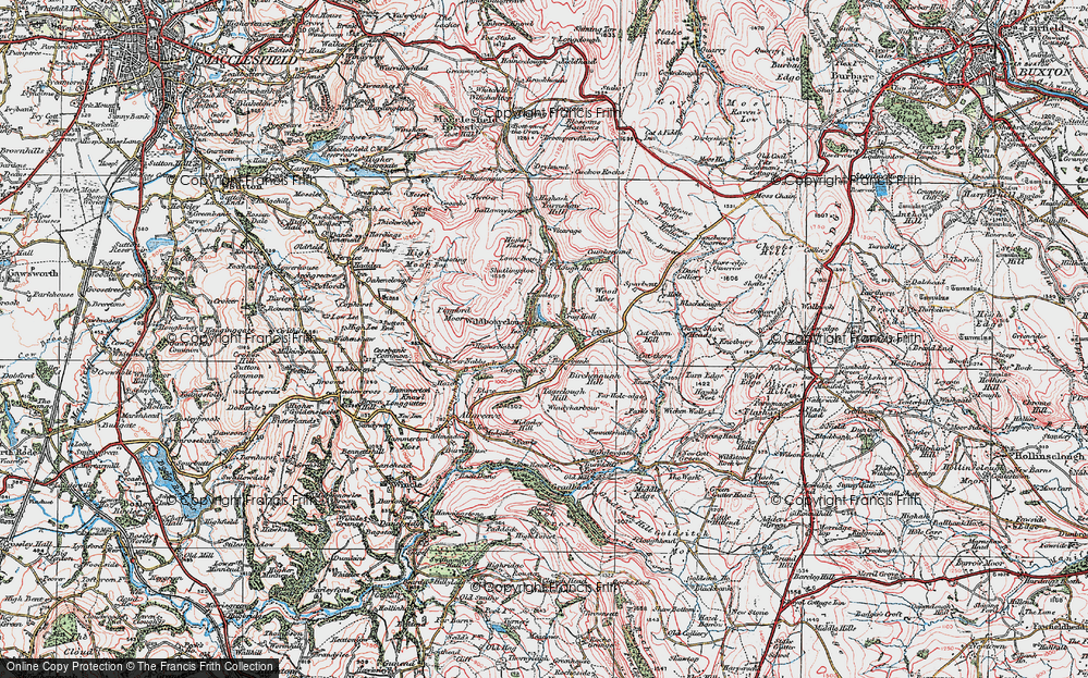 Old Map of Wildboarclough, 1923 in 1923