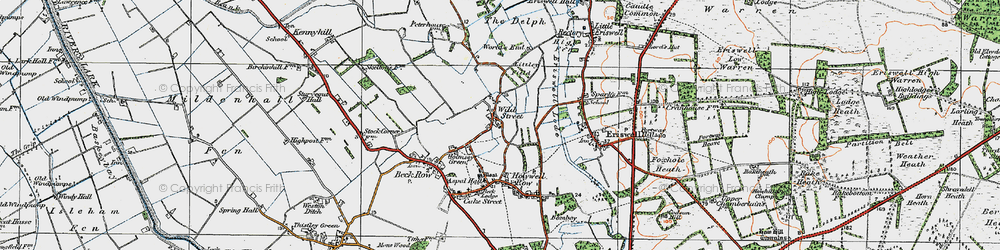 Old map of Wilde Street in 1920