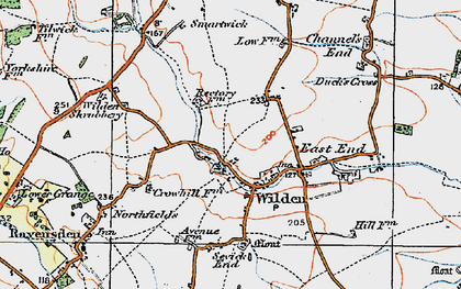 Old map of Wilden in 1919