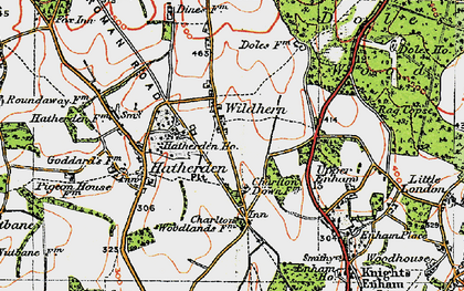 Old map of Wildhern in 1919