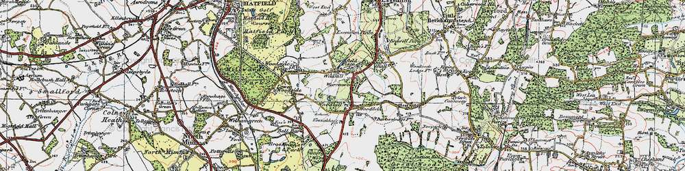 Old map of Wildhill in 1920