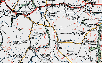 Old map of Wilkesley in 1921